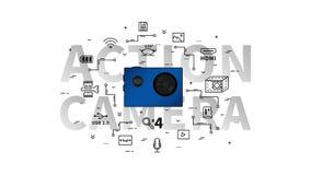 Illustrazione di vettore della macchina fotografica di azione Immagini Stock