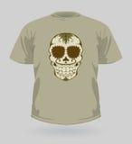 Illustrazione di vettore della maglietta con il cranio dello zucchero Fotografie Stock Libere da Diritti