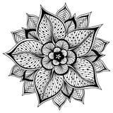 Illustrazione di vettore della mandala del profilo per il libro da colorare fiore A mano schizzato Fotografia Stock