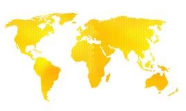 Illustrazione di vettore della mappa di mondo, modello del favo Immagini Stock