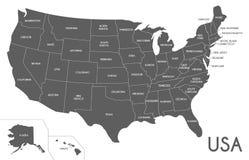 Illustrazione di vettore della mappa di U.S.A. isolata su fondo bianco Immagini Stock