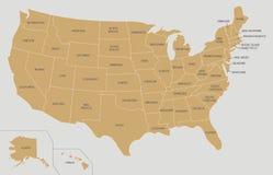Illustrazione di vettore della mappa di U.S.A. sul fondo di colore e di grey dell'oro Fotografia Stock Libera da Diritti