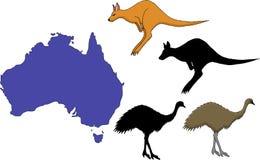 Illustrazione di vettore della mappa di viaggio del fumetto dell'Australia Fotografia Stock
