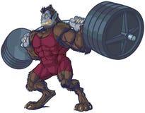Illustrazione di vettore della mascotte dell'uomo della bestia di sollevamento pesi Immagini Stock Libere da Diritti