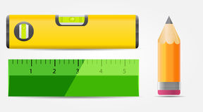 Illustrazione di vettore della matita, del livello e dell'icona del righello Fotografie Stock Libere da Diritti