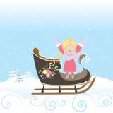 Illustrazione di vettore della natura del fiocco di neve di inverno di Natale di sorriso del bambino della ragazza della slitta Immagine Stock Libera da Diritti