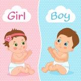 Illustrazione di vettore della neonata e del neonato Due bambini svegli del fumetto Scheda dell'invito della doccia di bambino Fotografia Stock