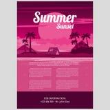 Illustrazione di vettore della notte di estate tropicale Fotografia Stock Libera da Diritti
