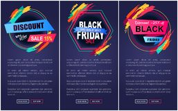 Illustrazione di vettore della pagina Web di Black Friday di sconto Fotografia Stock Libera da Diritti