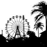 Illustrazione di vettore della palma e della ruota panoramica Fotografia Stock