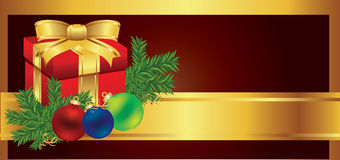 Illustrazione di vettore della priorità bassa del regalo della cartolina di Natale Fotografia Stock Libera da Diritti