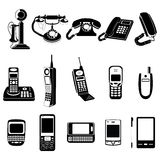 Icone di evoluzione del telefono messe Immagini Stock
