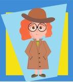 Illustrazione di vettore della ragazza dell'agente investigativo royalty illustrazione gratis