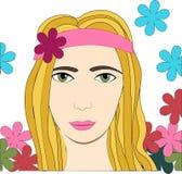 Illustrazione di vettore della ragazza di hippy con i fiori Fotografie Stock Libere da Diritti