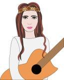 Illustrazione di vettore della ragazza di hippy con la chitarra Fotografie Stock Libere da Diritti