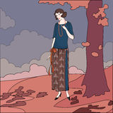 Illustrazione di vettore della ragazza di stili di anni venti Immagini Stock