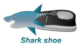 Illustrazione di vettore della scarpa con lo squalo Fotografie Stock Libere da Diritti