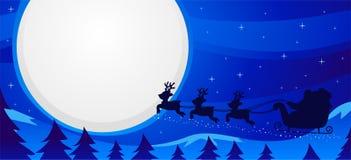 Illustrazione di vettore della scena Santa Sleigh Flying di notte fotografia stock
