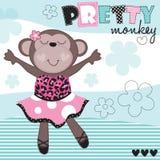 Illustrazione di vettore della scimmia della ballerina Fotografie Stock