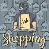 Illustrazione di vettore della scimmia su Black Friday Immagini Stock Libere da Diritti