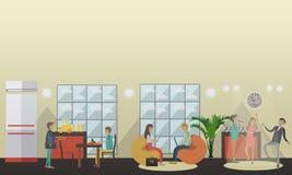 Illustrazione di vettore della stanza comune dell'università nello stile piano royalty illustrazione gratis