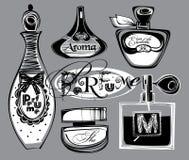 Illustrazione di vettore delle bottiglie del porfume Immagine Stock