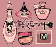 Illustrazione di vettore delle bottiglie del porfume Fotografie Stock Libere da Diritti