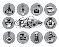 Illustrazione di vettore delle bottiglie del porfume Immagini Stock Libere da Diritti
