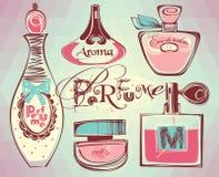 Illustrazione di vettore delle bottiglie del porfume Immagine Stock Libera da Diritti