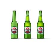 Illustrazione di vettore delle bottiglie di birra isolata su bianco Fotografia Stock