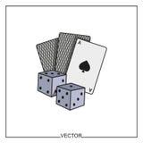 Illustrazione di vettore delle carte da gioco e dei dadi Immagini Stock Libere da Diritti