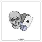 Illustrazione di vettore delle carte da gioco e del cranio Immagine Stock Libera da Diritti