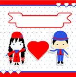 Illustrazione di vettore delle coppie di giorno di biglietti di S. Valentino Immagine Stock