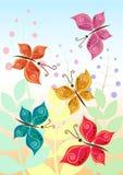 Illustrazione di vettore delle farfalle stilizzate Immagini Stock Libere da Diritti