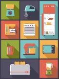 Illustrazione di vettore delle icone degli elettrodomestici da cucina Fotografia Stock Libera da Diritti