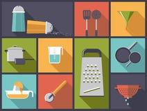 Illustrazione di vettore delle icone degli utensili da cucina Fotografie Stock Libere da Diritti