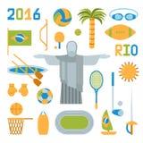 Illustrazione di vettore delle icone dei giochi olimpici di estate di Rio Fotografia Stock