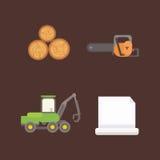 Illustrazione di vettore delle icone del legname Immagine Stock Libera da Diritti