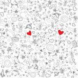 Illustrazione di vettore delle icone di scarabocchio di Valentine Day di amore Immagine Stock Libera da Diritti