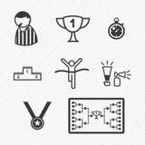 Illustrazione di vettore delle icone di torneo di sport Immagine Stock
