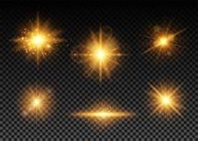Illustrazione di vettore delle luci dorate messe illustrazione di stock