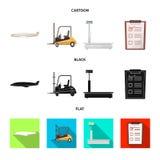 Illustrazione di vettore delle merci e del segno del carico Insieme delle merci e del simbolo di riserva del magazzino per il web illustrazione vettoriale