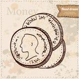 Illustrazione di vettore delle monete disegnata a mano Illustrazione Vettoriale
