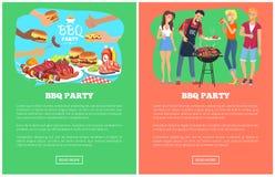 Illustrazione di vettore delle pagine Web della raccolta del partito del BBQ Fotografia Stock