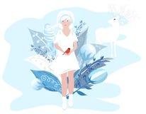 Illustrazione di vettore delle stagioni Ragazza di inverno in un vestito bianco che tiene un uccello in sue mani Ragazza sveglia  illustrazione vettoriale