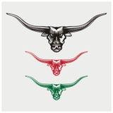 Illustrazione di vettore delle teste del toro Immagini Stock Libere da Diritti