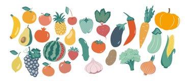 Illustrazione di vettore delle verdure differenti nello stile piano Illustrazione di vettore immagine stock libera da diritti