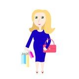 Illustrazione di vettore di acquisto della donna incinta Fotografie Stock Libere da Diritti