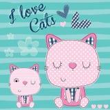 Illustrazione di vettore di amore del gatto Fotografia Stock