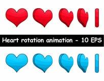 Illustrazione di vettore di animazione di rotazione del cuore Fotografia Stock